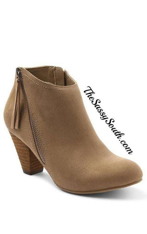 Sassy Taupe Bootie with Side Zipper Tassel