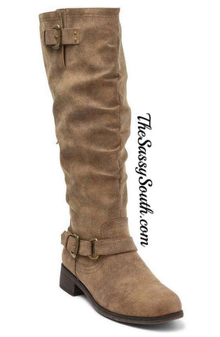 Sassy Taupe Moria Boot - Boots - The Sassy South Boutique