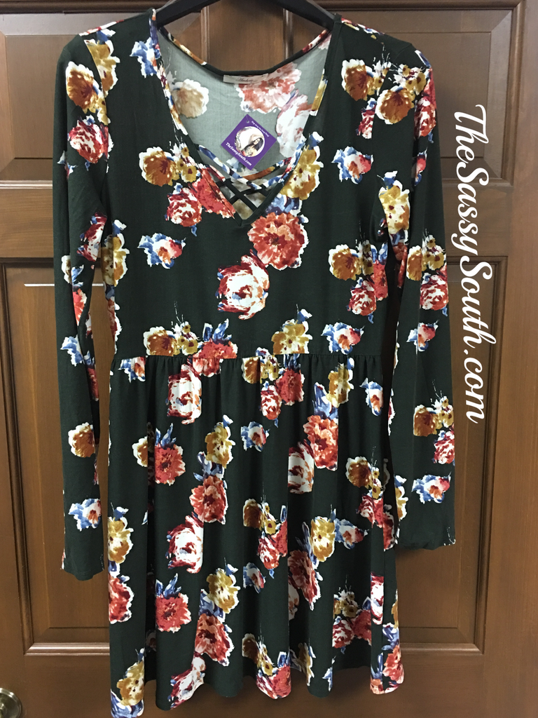 Floral Olive Dress - Dress - The Sassy South Boutique