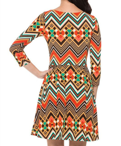Vibrant Tribal Fit and Flare Dress (Color: Multi) - Dress - The Sassy South Boutique