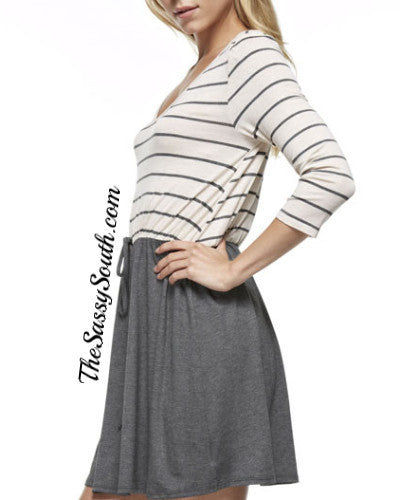 Grey Striped Block Mini Dress - Dress - The Sassy South Boutique
