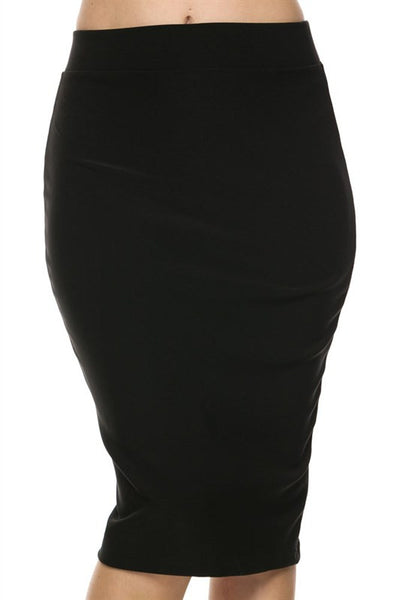 Scuba Techno Pencil Skirt (Black) - Skirt - The Sassy South Boutique