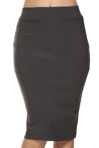 Scuba Techno Pencil Skirt (Charcoal)