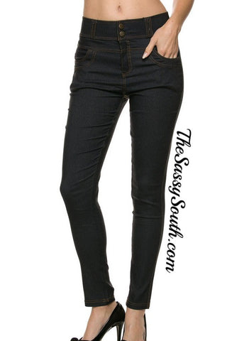 Navy Hi-Waisted Jeggings - Jeggings - The Sassy South Boutique