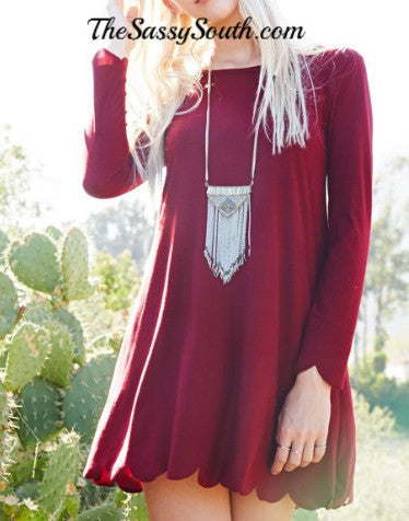 Wine Scallop Hemline Dress - Dress - The Sassy South Boutique