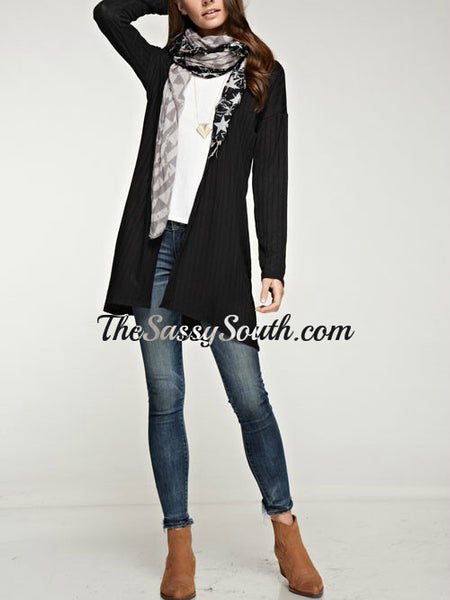 Light Weight Ribbed Cardigan (Black)