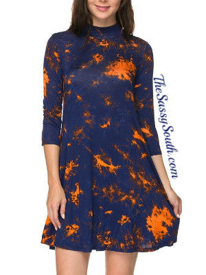 (Curvy) Tie Dye Print Mock-Neck Dress - Dress (CURVY) - The Sassy South Boutique