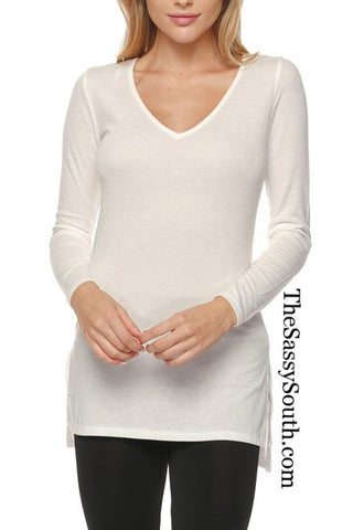 Solid VNeck LS HiLo Top - Blouse - The Sassy South Boutique