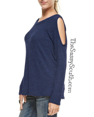Peak-A-Boo Shoulder Top (NAVY) Long Sleeves - Blouse - The Sassy South Boutique