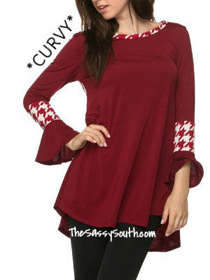(Curvy) Burgundy Blouse with Houndstooth Accents - Curvy - The Sassy South Boutique