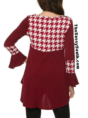 (Curvy) Burgundy Blouse with Houndstooth Accents