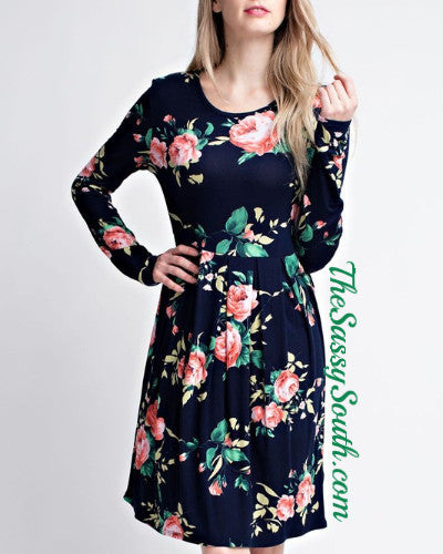 Floral Long Sleeve Pleat Dress (Mocha) - Dress - The Sassy South Boutique