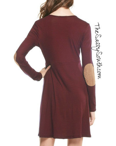 Long-Sleeve Solid Pleat Dress with Suede Elbow Patches - Dress - The Sassy South Boutique