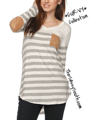 (Curvy) Striped VNeck Blouse with Suede Elbow Patches - Curvy - The Sassy South Boutique