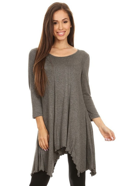 Asymmetrical Hemline Solid Tunic - Blouse - The Sassy South Boutique