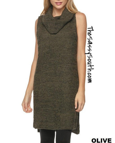 Cowl Neck Sleeveless Tunic with Side Slits - Blouse - The Sassy South Boutique