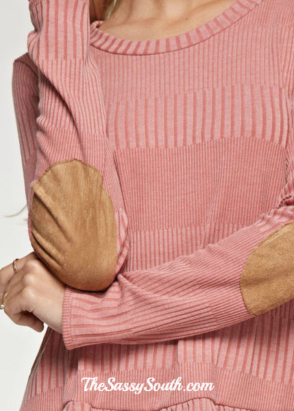 Drop Waistline Ruffle Blouse with Elbow Patches (Lite Coral)