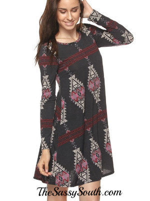 Black Long Sleeve Tribal Print Dress (Size: Small to 3XL)