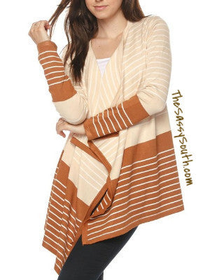 Honey Color Block Striped Cardigan - Cardigan - The Sassy South Boutique