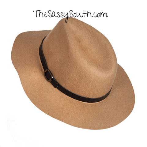 Hat with Buckle Accent (Color: Tan) - Hat - The Sassy South Boutique