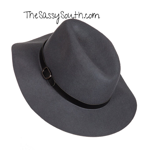 Hat with Buckle Accent (Color: Charcoal) - Hat - The Sassy South Boutique