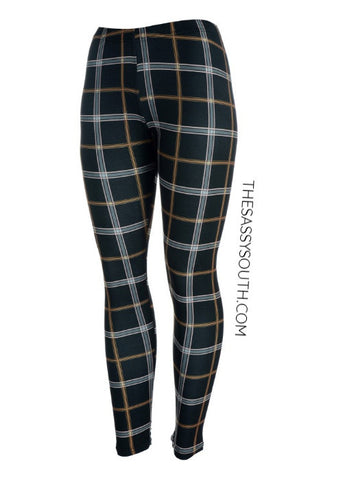 Plaid-Print Leggings - Leggings - The Sassy South Boutique