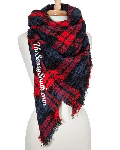Blanket Scarf (Navy Plaid) - Scarf - The Sassy South Boutique
