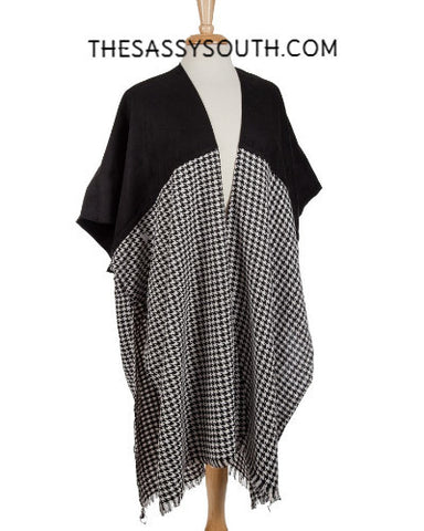 Black Houndstooth Kimono - Kimono - The Sassy South Boutique