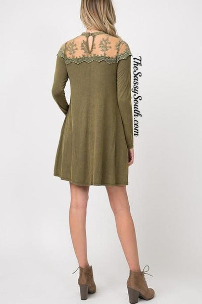 Lace Detailing Wash Dye Dress - Dress - The Sassy South Boutique