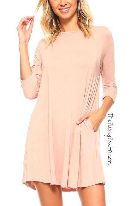 Peach Knit Swing Dress with Pockets