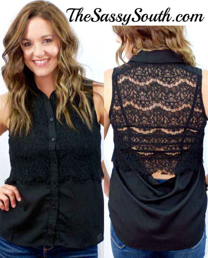 Lace Drape Back Collared Top - Blouse - The Sassy South Boutique