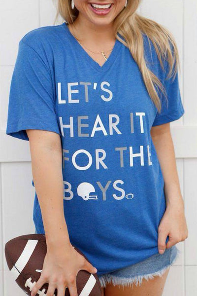 Let's Hear It For The Boys (Blue) - Graphic Top - The Sassy South Boutique