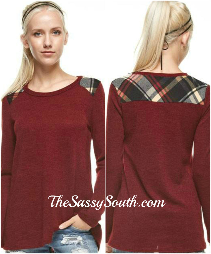 Plaid Shoulder Paneled Solid Top (Burgundy) Long Sleeve - Blouse - The Sassy South Boutique