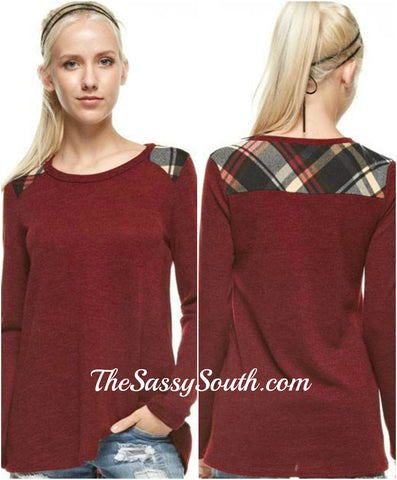 e1c59923992f Plaid Shoulder Paneled Solid Top (Burgundy) Long Sleeve - Blouse - The Sassy  South
