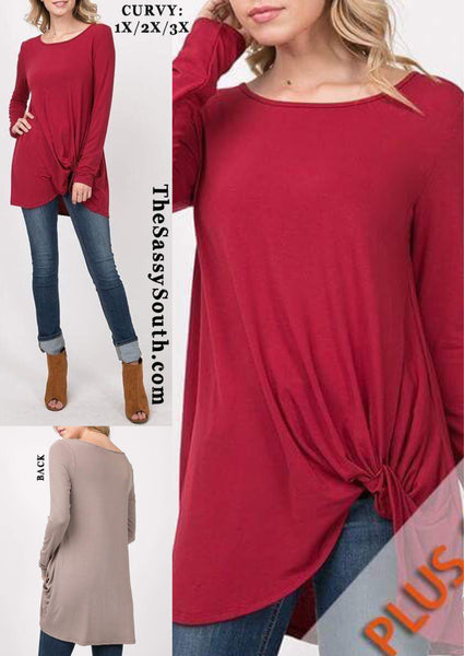 CURVY Burgundy Knot Top - Curvy - The Sassy South Boutique