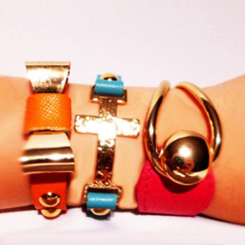 Leather Adjustable Gold Accent Bracelets - Jewelry - The Sassy South Boutique