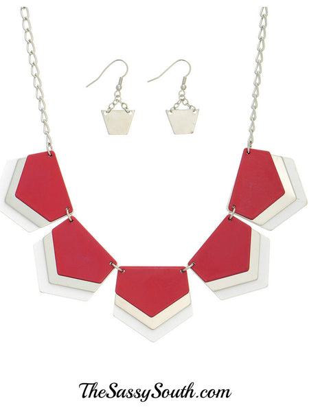 Red Tone Necklace Set - Jewelry - The Sassy South Boutique