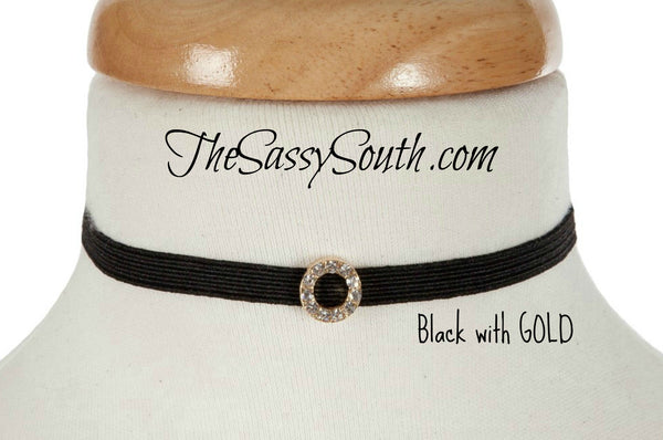 Adjustable Stretch Choker with Jeweled Circle Accent - Jewelry - The Sassy South Boutique