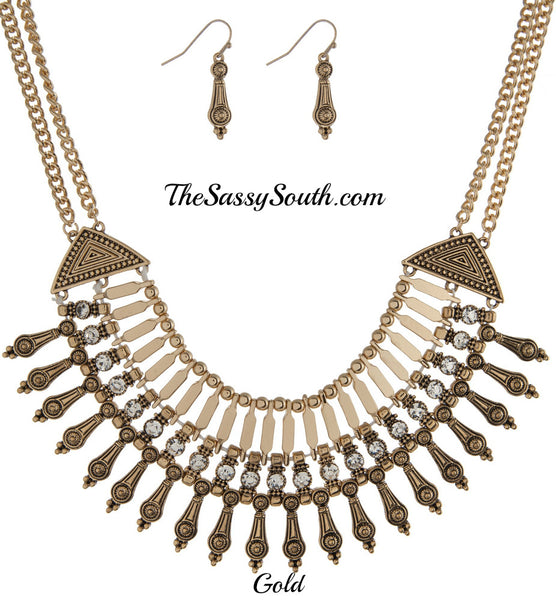 Silver Tone Bib Necklace Set - Jewelry - The Sassy South Boutique