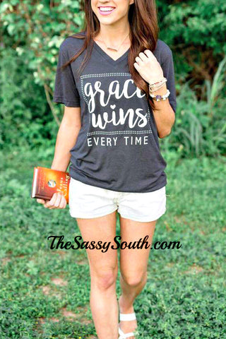 Grace WINS Every Time Tee - Graphic Top - The Sassy South Boutique
