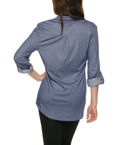 Chambray Stretch Button Up - Blouse - The Sassy South Boutique