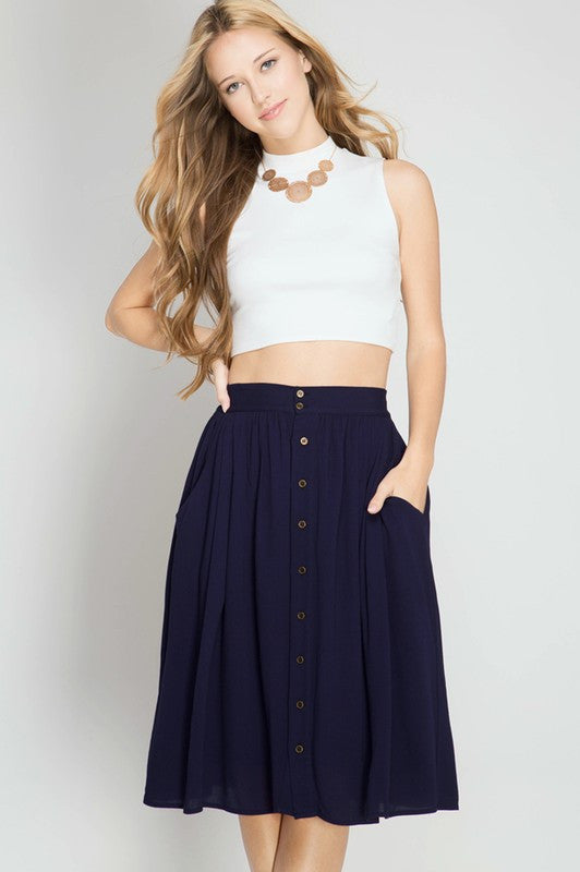 3dc24230b5 High Waist Button Down Accent Midi Skirt - Skirt - The Sassy South Boutique