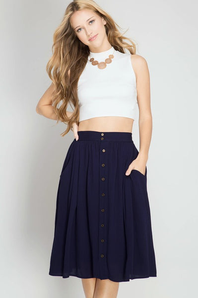 High Waist Button Down Accent Midi Skirt - Skirt - The Sassy South Boutique