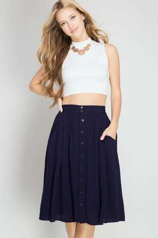 High Waist Button Down Accent Midi Skirt