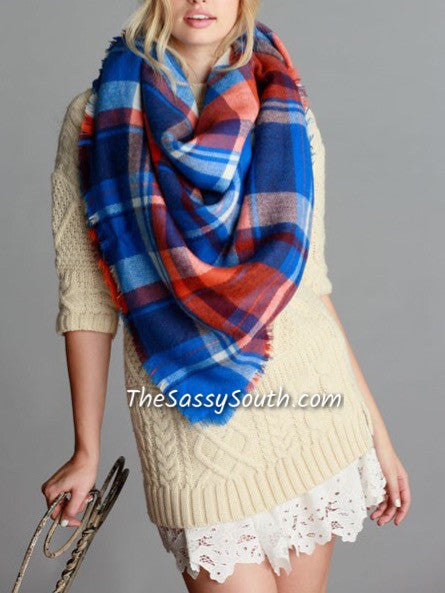Blanket Scarf (Blue/Orange)