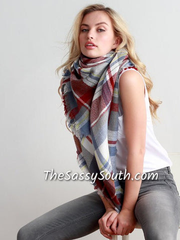 Blanket Scarf (Lt.Blue/Brick) - Scarf - The Sassy South Boutique