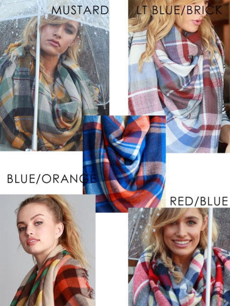 Blanket Scarf (Blue/Orange) - Scarf - The Sassy South Boutique