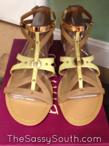 Selene Strap Flats (Tan/PaleYellow/Gold Shoe) - Flats - The Sassy South Boutique