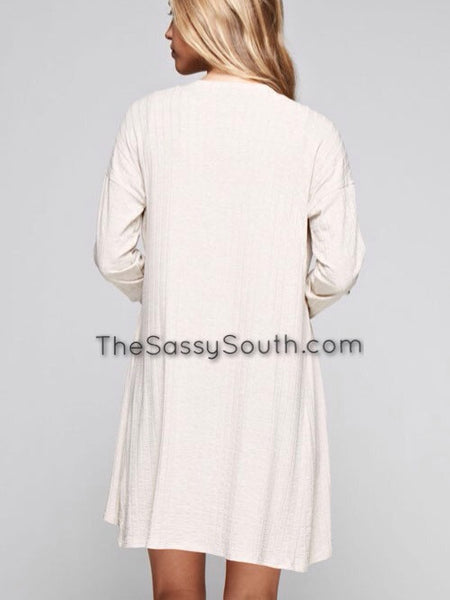 Light Weight Ribbed Cardigan (Ivory) - Cardigan - The Sassy South Boutique