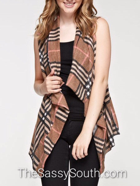 Plaid Open Waterfall Style Vest (Mocha) - Vest - The Sassy South Boutique